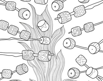 Printable Coloring Page Zentangle Camping Coloring Book Etsy - Camping-coloring-pages