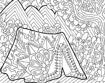 Camping coloring | Etsy