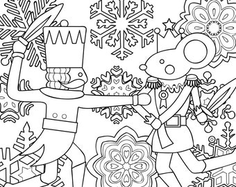 2 Printable Coloring Pages Zentangle Coloring Book Nutcracker Etsy