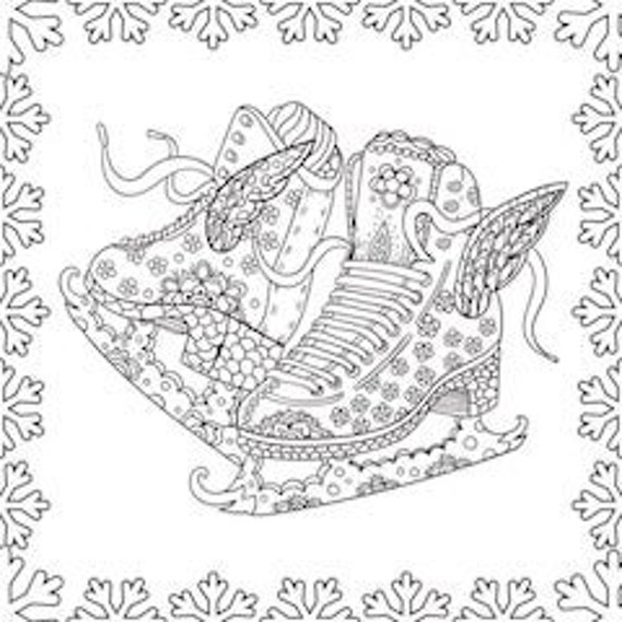 2 Printable Coloring Pages Zentangle Figure Skating Coloring Book