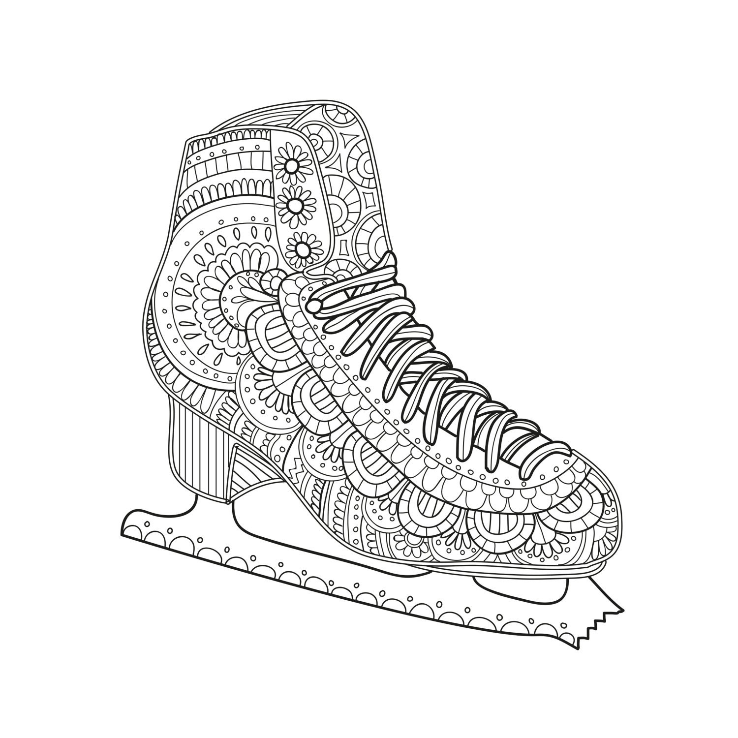Printable Coloring Page Zentangle Figure Skating Coloring