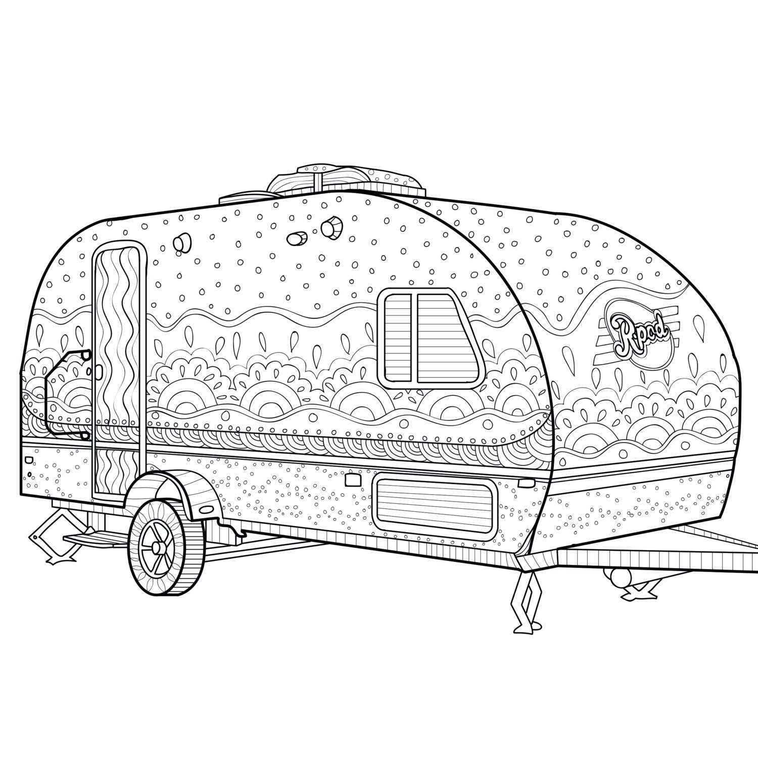 Printable Coloring Page Zentangle Camping Coloring Book | Etsy
