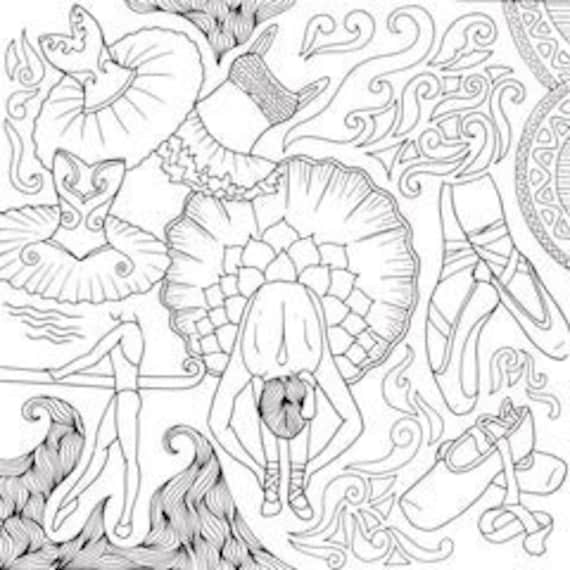 Printable Coloring Page Zentangle Dance Coloring Book Etsy