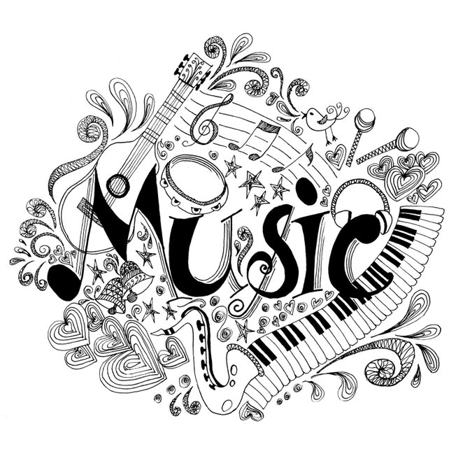 Printable Coloring Page Zentangle Music Book