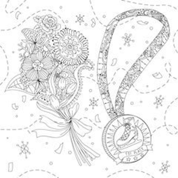 Printable Coloring Page Zentangle Figure Skating Coloring Book Etsy