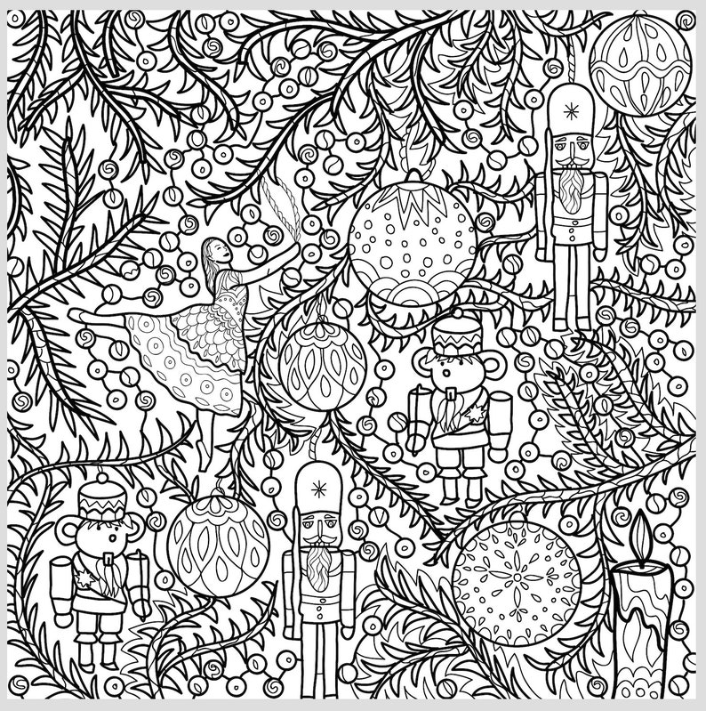 2 Printable Coloring Pages Zentangle Coloring Book Nutcracker | Etsy