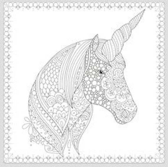 - Printable Coloring Page Zentangle Unicorn Coloring Book Etsy