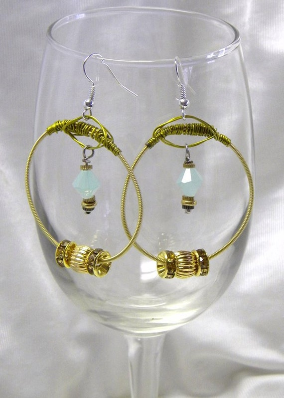recycled guitar string earrings with gold beads etsy. Black Bedroom Furniture Sets. Home Design Ideas