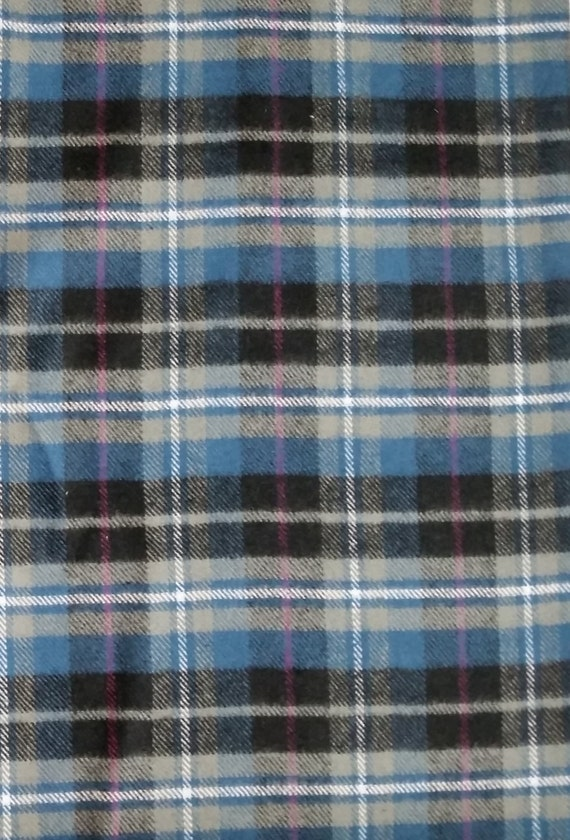 Cotton Flannel Fabric, Plaid Flannel - By the Yard - Blue, Gray ...