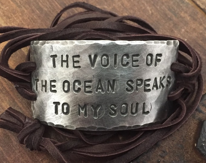 The Voice of The Ocean Speaks to My Soul leather ID wrap Bracelet, Pewter, silver, Aviation, Flying, Hand Stamped, Inspirational jewelry,