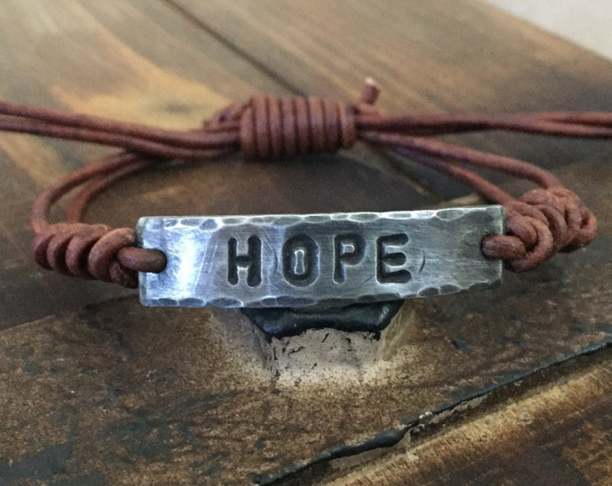 HOPE ID Bracelet, silver, leather, Hand Stamped, Pewter, Inspirational jewelry, bracelet with words,