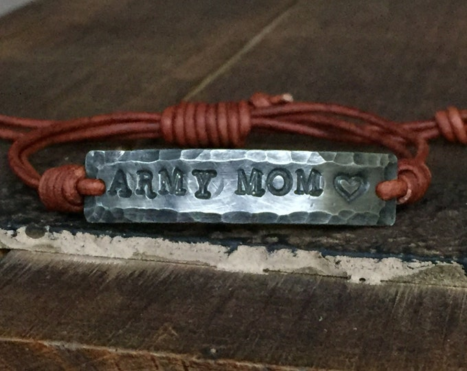 ARMY MOM ID Bracelet, silver, Pewter, leather, Hand Stamped, Inspirational jewelry, bracelet with words, Girlfriend Gift, Boyfriend Gift