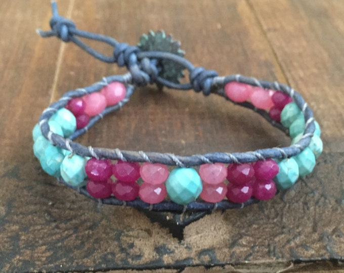 Turquoise and pink gemstone leather wrap bracelet, colorful jewelry,