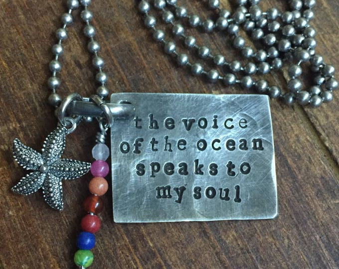 The Voice of The Ocean Speaks to My Soul necklace, Pewter, silver, Hand Stamped, Inspirational jewelry,
