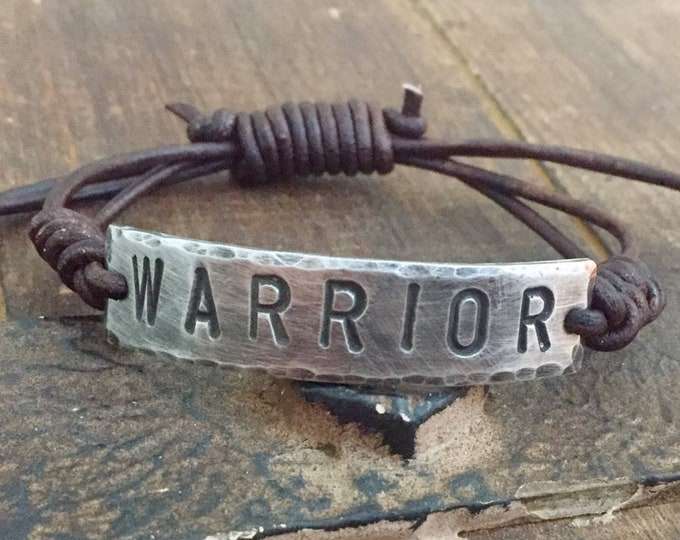 WARRIOR ID Bracelet, silver, Pewter, leather, Hand Stamped, Inspirational jewelry, bracelet with words, Girlfriend Gift, Boyfriend Gift