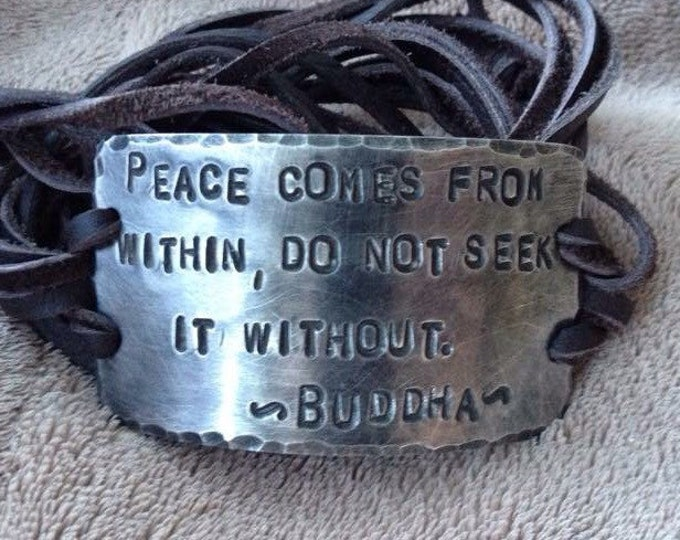 Spiritual saying ID wrap Bracelet, silver, leather, Hand Stamped Pewter, Inspirational jewelry, bracelet with words, Buddha quote