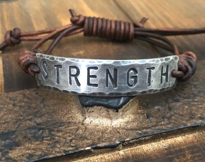 STRENGTH  ID Bracelet, Pewter, leather, Hand Stamped, Inspirational jewelry, bracelet with words,