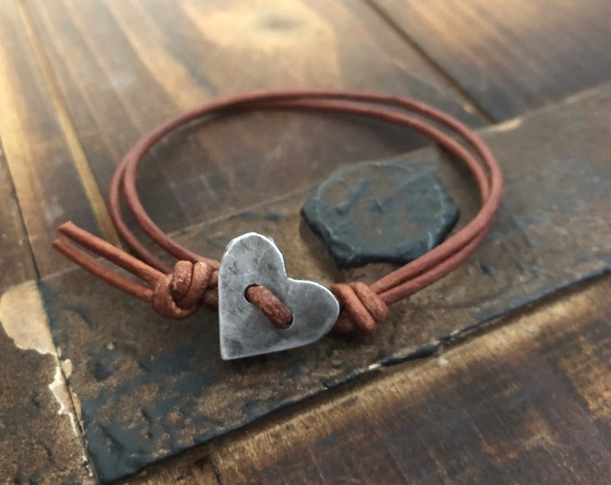 Silver Heart leather bracelet id  Hand Stamped Pewter, Gift for Her, Girlfriend Gift, personalized, military tag bracelet, with hearts affir