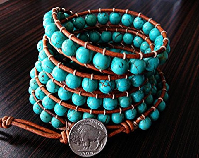 Southwestern style turquoise beaded leather rap bracelet with silver buffalo clasp 5X Wrap