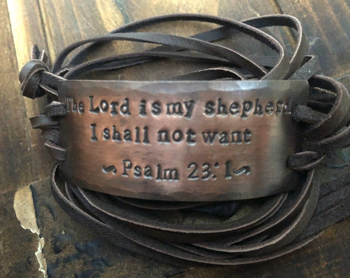 The Lord is My Shepherd Psalm 23:1 copper ID wrap Bracelet, silver, leather, Hand Stamped, Inspirational jewelry, bracelet with words,
