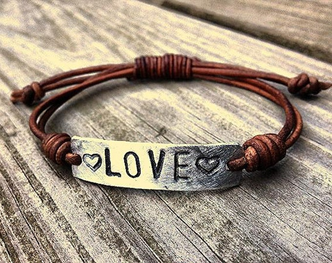 Silver LOVE bracelet id Leather Hand Stamped Pewter, Girlfriend Gift, personalized, military tag bracelet, with hearts affirmation