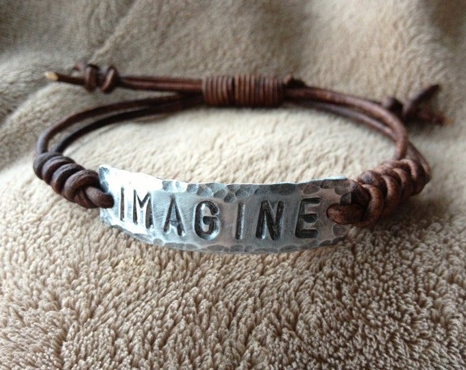 IMAGINE ID Bracelet, silver, Pewter, leather, Hand Stamped, Inspirational jewelry, bracelet with words,