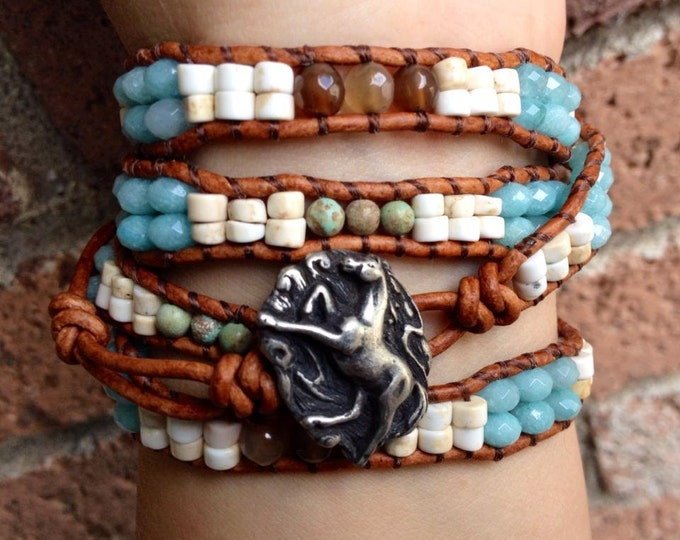 Southwestern Turquoise Beaded Leather Wrap Bracelet with silver horse 5x