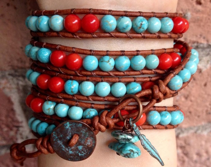 Southwestern Turquoise and Coral Beaded Leather Wrap Bracelet with copper patina feather charm 5x, Native American bracelet,
