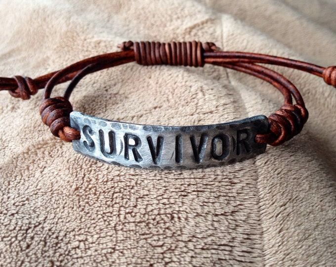 SURVIVOR ID Bracelet, silver, brown leather, Hand Stamped Pewter, Inspirational jewelry, bracelet with words,