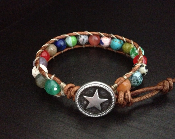 Leather Gemstone Bracelet with silver star closure