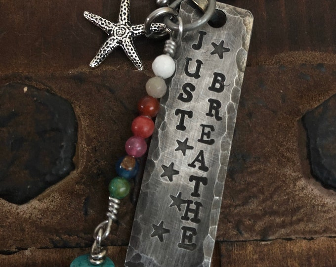 JUST BREATHE necklace with chakra gemstones and starfish charm, military tag, Pewter, dog tag jewelry with stones hand stamped