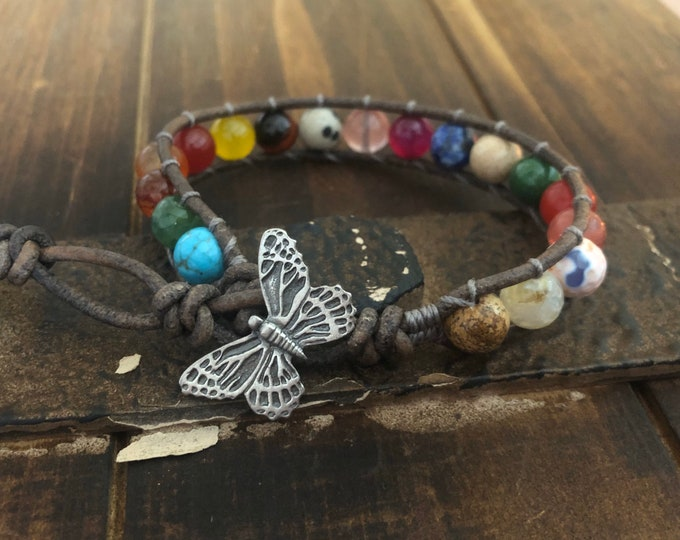 Butterfly Beaded Leather Wrap Bracelet, Multicolor Gemstones, Colorful Leather Bracelet 1x