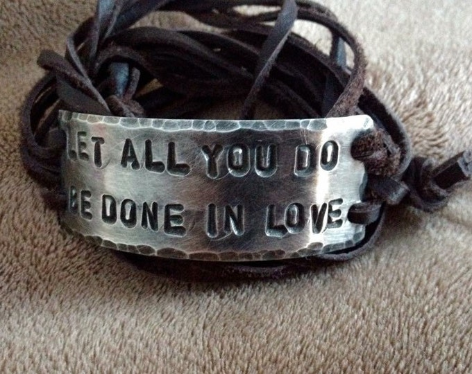 Let all you do be done in love Pewter ID wrap Bracelet, silver, leather, Hand Stamped, Inspirational jewelry, bracelet with words,