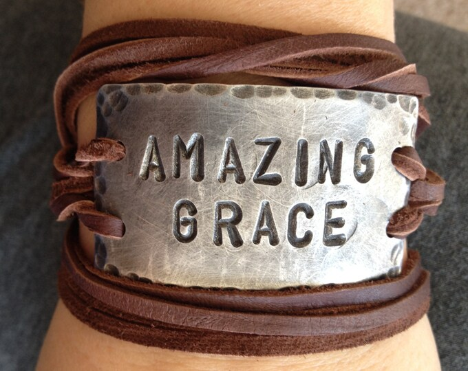 AMAZING GRACE ID wrap Bracelet, silver, leather, Pewter, Hand Stamped, Inspirational jewelry, bracelet with words