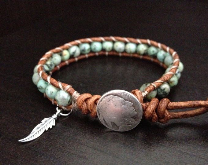 Featured listing image: Turquoise Leather Wrap Bracelet with sterling silver feather charm Native American inspired jewelry Single Wrap, Girlfriend Boyfriend Gift