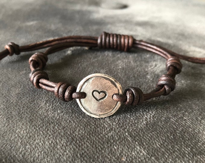 Silver Heart leather bracelet id  Hand Stamped Pewter