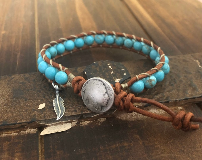 Turquoise Leather Wrap Bracelet with sterling silver feather charm Native American inspired jewelry Single Wrap, Girlfriend Boyfriend Gift