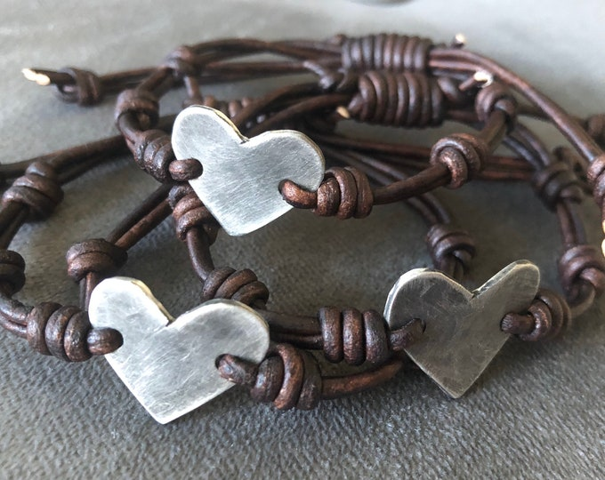 Silver Heart leather bracelet id  Hand Stamped Pewter, Girlfiend Gift, personalized