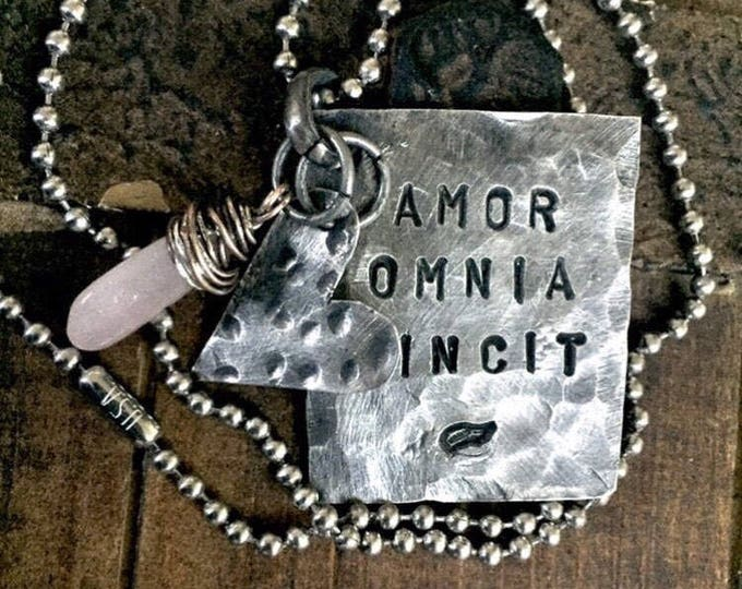 LOVE CONQUERS ALL necklace, Amor Omnia Vincit, Pewter, silver, Hand Stamped, Inspirational jewelry,