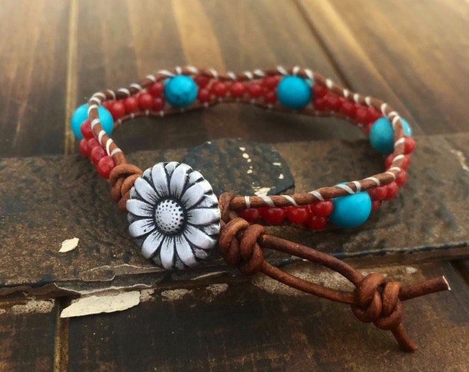 turquoise and coral Single Wrap Leather Bracelet With Flower Button