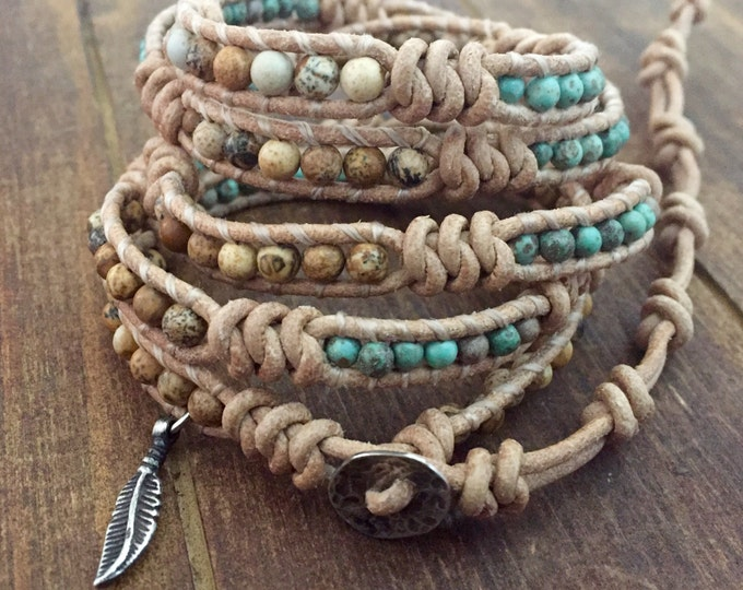 Turquoise and sterling silver feather beaded Leather Wrap bracelet artisan made original couture jewelry