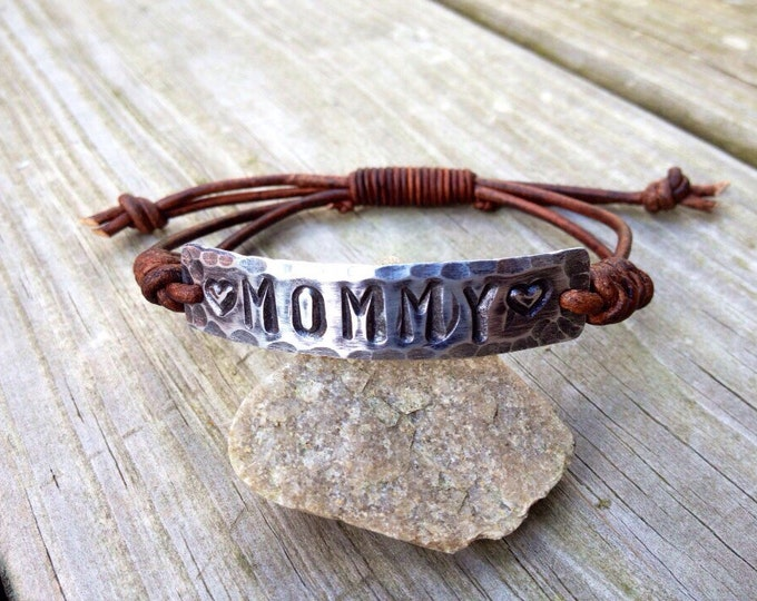 MOMMY ID Bracelet Leather silver Hand Stamped Pewter, hearts