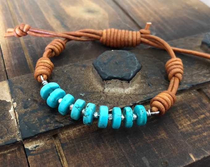turquoise and sterling silver wired leather bracelet, western southwestern style rugged rustic jewelry