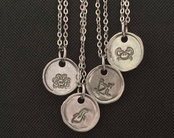 Celestial Jewelry, Silver Zodiac Necklace, Zodiac Coin Charm Necklace, Zodiac Sign Jewelry, Handstamped Zodiac Jewelry