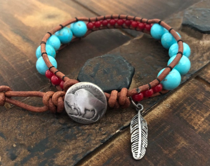 Southwestern Turquoise and Coral Beaded Leather Wrap Bracelet with sterling silver, Native American inspired bracelet
