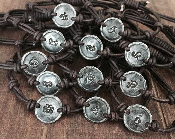 Silver Zodiac leather bracelet, aries, cancer, saggitarius, pisces, aquarius, gemini, leo, libra, scorpio, taurus, capricorn, virgo, jewelry