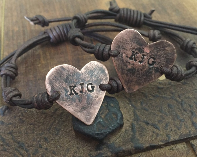 Personalized heart bracelet initials id  Hand Stamped Pewter, Girlfiend Gift