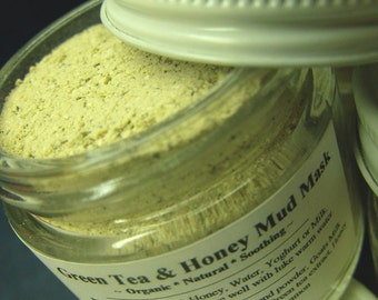 Green Tea and Honey Mud Mask - Gentle healing Skincare treatment - Natural goodness for Face and Body