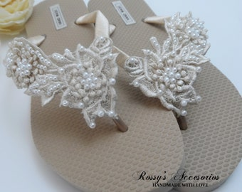 5019f1bcc Champagne Venice Lace Flip Flops   Bridal Gold Flip flops  Wedding Venice  Lace Flip Flops   Bride Gift   Beach wedding Party .