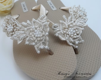 75a723c37a59 Champagne Venice Lace Flip Flops   Bridal Gold Flip flops  Wedding Venice  Lace Flip Flops   Bride Gift   Beach wedding Party .